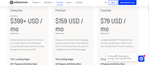 Unbounce Pricing and Packages