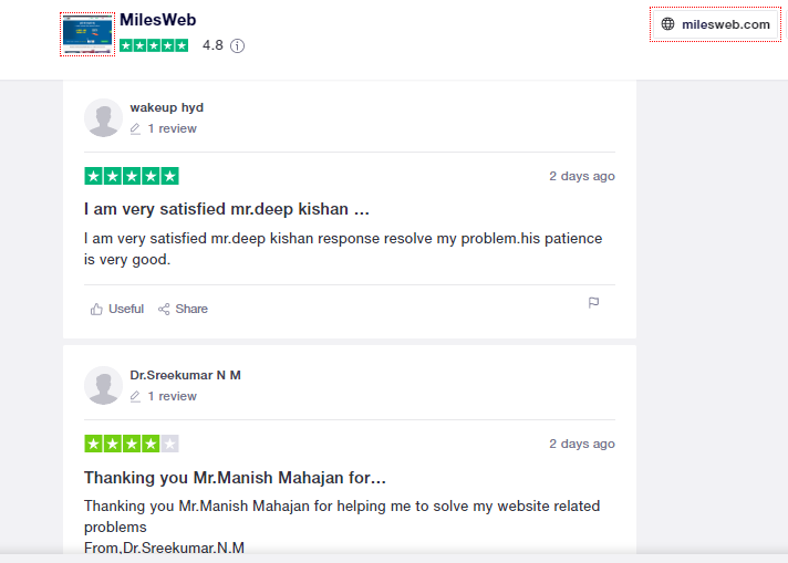 Milesweb reviews by client
